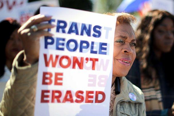 PHOTO: LGBT activists from the National Center for Transgender Equality, partner organizations and their supporters hold a rally in front of the White House, Oct. 22, 2018. (Chip Somodevilla/Getty Images)