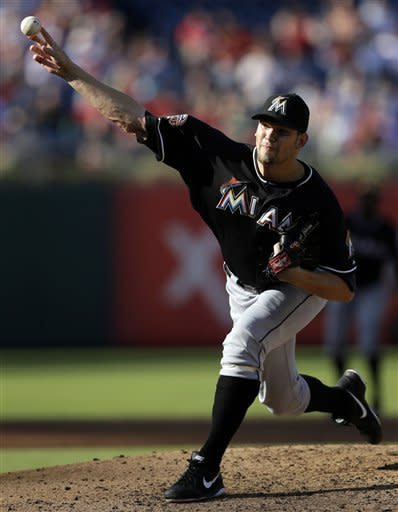 Miami Marlins' Josh Johnson pitches in the second inning of a baseball game against the Philadelphia Phillies, Wednesday, Sept. 12, 2012, in Philadelphia. (AP Photo/Matt Slocum)