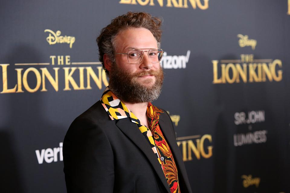 """HOLLYWOOD, CALIFORNIA - JULY 09: Seth Rogen attends the World Premiere of Disney's """"THE LION KING"""" at the Dolby Theatre on July 09, 2019 in Hollywood, California. (Photo by Jesse Grant/Getty Images for Disney)"""
