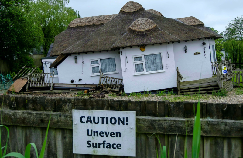 Signs have been erected around the property with the words 'Danger; Unsafe' (SWNS)