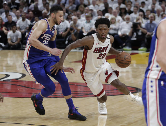 "Miami's <a class=""link rapid-noclick-resp"" href=""/nba/players/5470/"" data-ylk=""slk:Justise Winslow"">Justise Winslow</a> was fined $15,000 for stepping on 76ers big man <a class=""link rapid-noclick-resp"" href=""/nba/players/5294/"" data-ylk=""slk:Joel Embiid"">Joel Embiid</a>'s mask on Thursday. (AP Photo/Lynne Sladky)"