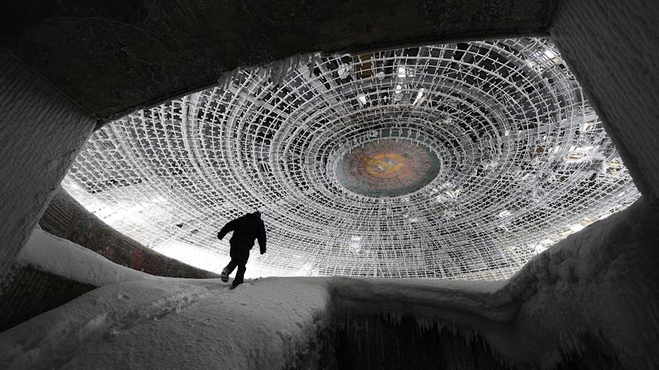 The Buzludzha monument near Kazanluk, Bulgaria looks like a UFO that's been decaying for centuries, but it's actually only 36 years old.
