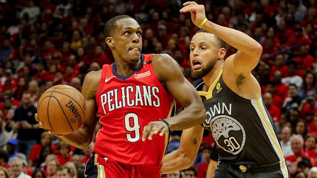 "<a class=""link rapid-noclick-resp"" href=""/nba/players/4149/"" data-ylk=""slk:Rajon Rondo"">Rajon Rondo</a> averaged 8.3 points, 8.2 assists and four rebounds for New Orleans last season. (AP)"