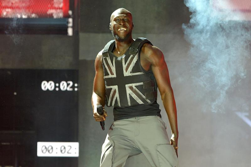 GLASTONBURY, ENGLAND - JUNE 28: Stormzy performs on the Pyramid stage during day three of Glastonbury Festival at Worthy Farm, Pilton on June 28, 2019 in Glastonbury, England. The festival, founded by farmer Michael Eavis in 1970, is the largest greenfield music and performing arts festival in the world. Tickets for the festival sold out in just 36 minutes as it returns following a fallow year. (Photo by Jim Dyson/Getty Images)