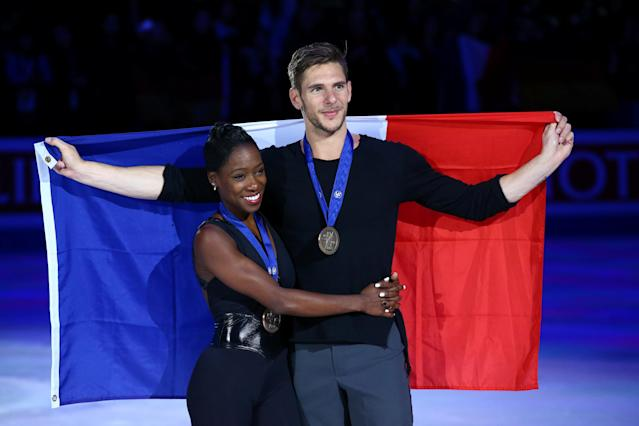 Figure Skating - World Figure Skating Championships - The Mediolanum Forum, Milan, Italy - March 22, 2018 France's Vanessa James and Morgan Cipres celebrate after winning the Pairs bronze REUTERS/Alessandro Bianchi