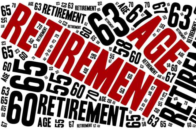 Word cloud illustration related to retirement age.