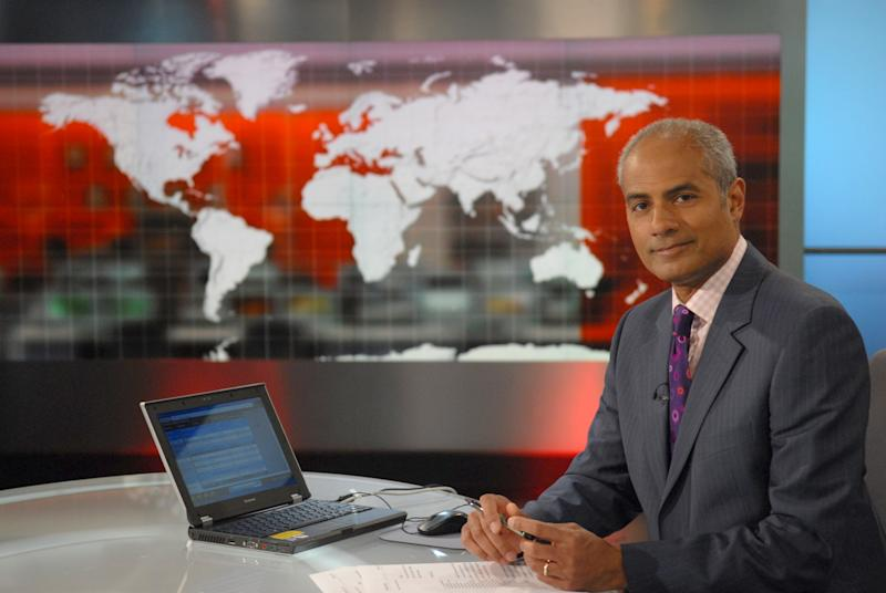 Presenter and newsreader George Alagiah in the BBC World News studio, 01/07/2008 (Photo by Jeff Overs/BBC News & Current Affairs via Getty Images)
