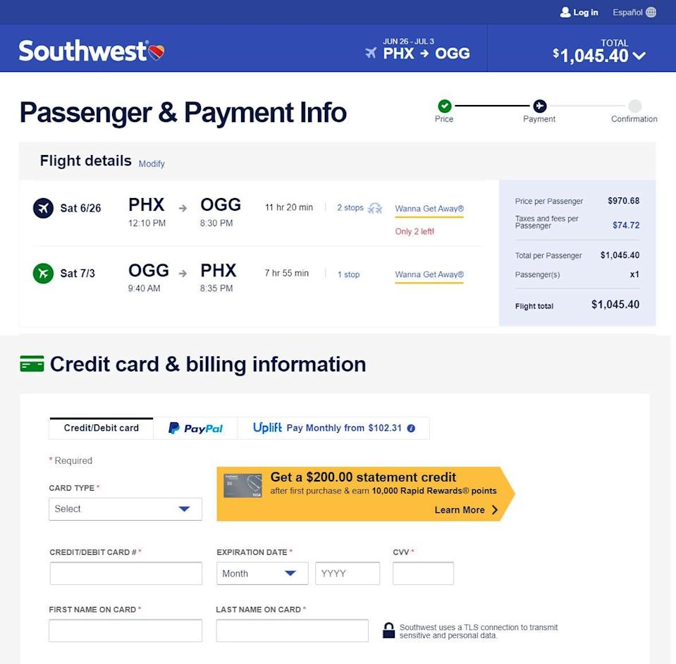 Southwest Airlines has added a new financing option via Uplift for plane tickets. Instead of paying more than $1,000 upfront for a ticket to Hawaii, travelers can select monthly payments starting at $102 for 11 months depending on credit, as seen in these screenshots.