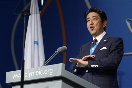 Prime Minister Shinzo Abe of Japan speaks during the presentation by the Tokyo 2020 bid committee to host the 2020 Summer Olympic Games, in Buenos Aires