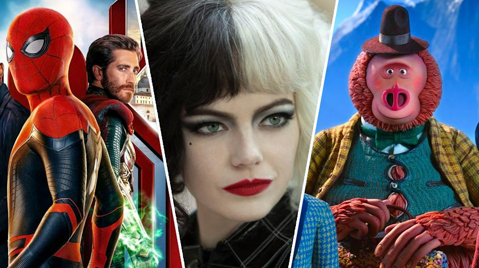 Spider-Man: Far From Home, Cruella, Missing Link are all streaming this weekend (Sony Pictures/Disney/Laika)