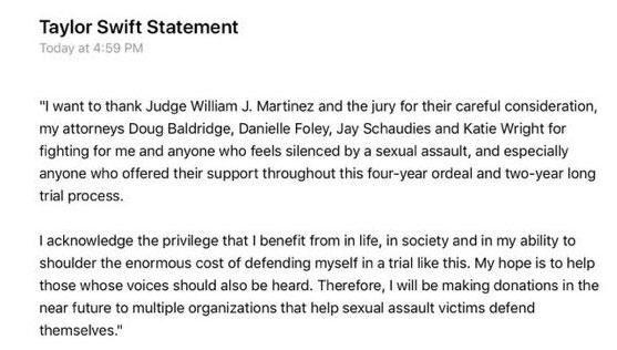 Taylor issued this statement following the verdict.