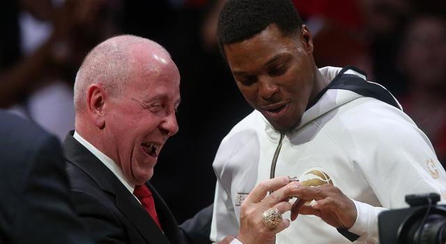 Kyle Lowry was thrilled with his new bling. (Steve Russell/Toronto Star via Getty Images)