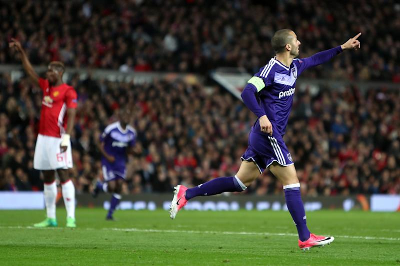Anderlecht celebrate the equalising goal