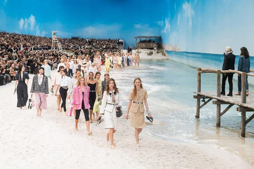 <p>Said to be inspired by Lagerfield's childhood years holidaying on the island of Sylt his SS19 beach set was complete with a jetty (from which Karl Lagerfeld watched the finale), beach huts, actual sand and real, lapping waves.</p>
