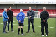 <p>Meeting with David MacPhee and footballer Steven Thompson during a visit to Spartans FC's Ainslie Park Stadium on May 21, 2021 in Edinburgh, Scotland.</p>