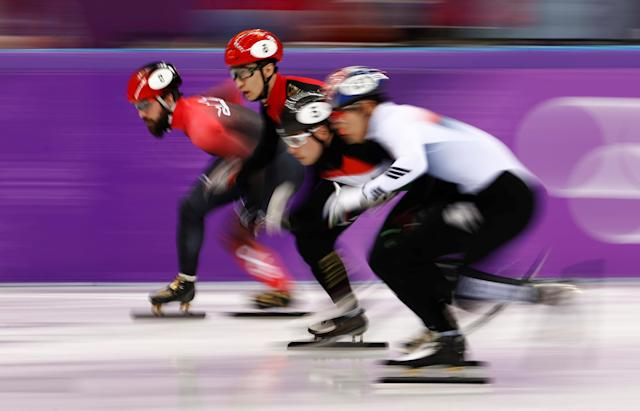 Short Track Speed Skating Events - Pyeongchang 2018 Winter Olympics - Men's 5000m Relay Final - Gangneung Ice Arena - Gangneung, South Korea - February 22, 2018 - Charles Hamelin of Canada, Wu Dajing of China, Liu Shaoang of Hungary and Kim Dok-youm of South Korea in action. REUTERS/Damir Sagolj TPX IMAGES OF THE DAY