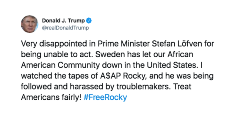 Trump is totally going to start a war with Sweden over ASAP Rocky, isn't he?