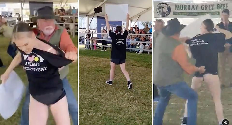 Tash Peterson stormed Perth's Royal Show to protest animal rights. Source: Tash Peterson