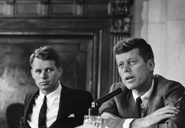 <p>Robert F. Kennedy, left, and John F. Kennedy during the McClellan Senate hearings investigating charges of corruption in labor unions in May 1957. (Photo: Douglas Jones for Look Magazine/John F. Kennedy Presidential Library and Museum) </p>