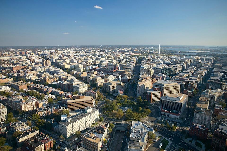 Aerial view of Washington D.C. with Dupont Circle