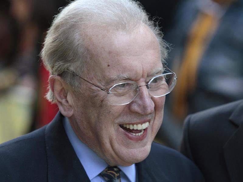 File - Broadcaster Sir David Frost poses for the photographers as he arrives for the European premiere of the 'Fire in Babylon' film at a central London cinema in this Monday, May 9, 2011 file photo. Sir David Frost has died at the age of 74 his family said in a statement Sunday Sept. 1 2013. (AP Photo/Lefteris Pitarakis, file)