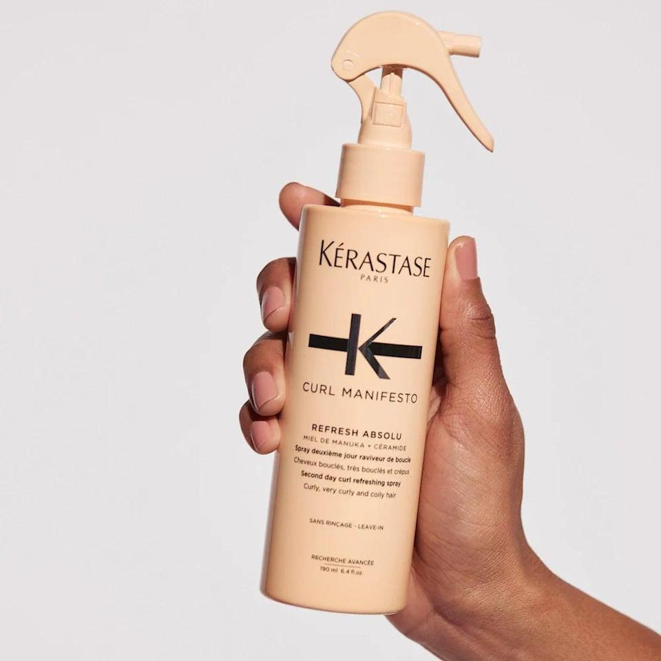 <p>Give your curls a midweek refresh with the <span>Kérastase Curl Manifesto Curl Refreshing &amp; Restyling Spray</span> ($40).</p>