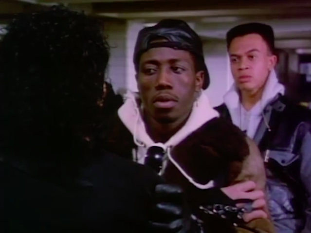 "Wesley Snipes in Michael Jackson's video for ""Bad."" (Photo: Epic Records/Quincy Jones Productions)"