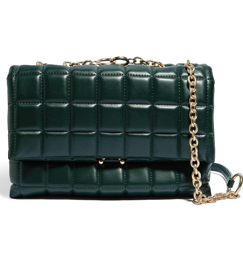 <p>This <span>House of Want We Step Up Vegan Leather Shoulder Bag</span> ($98) looks so polished and expensive; we can't get over the quilted fabric and gold chain mix. It's perfect for evening wear.</p>