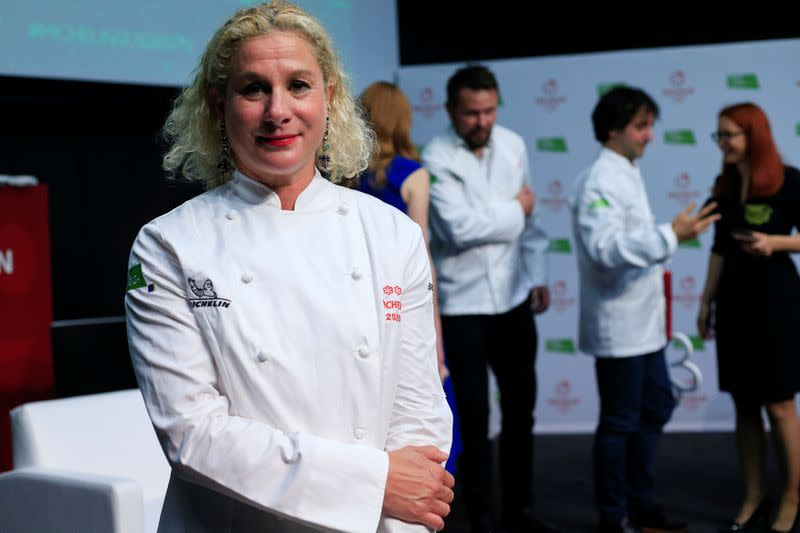 Ana Ros poses for a picture after receiving 2 Michelin stars for her restaurant Hisa Franko in Ljubljana