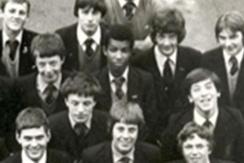 The convicted killer (centre) was remembered as an 'all-round nice guy' by former classmates
