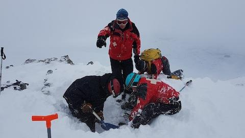 People digging out victim on slopes