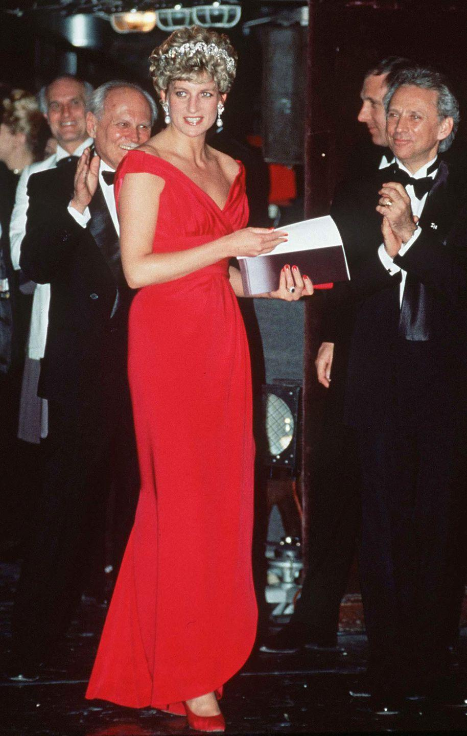 <p>In a red gown by Victor Edelstein at a performance in Budapest, Hungary. </p>