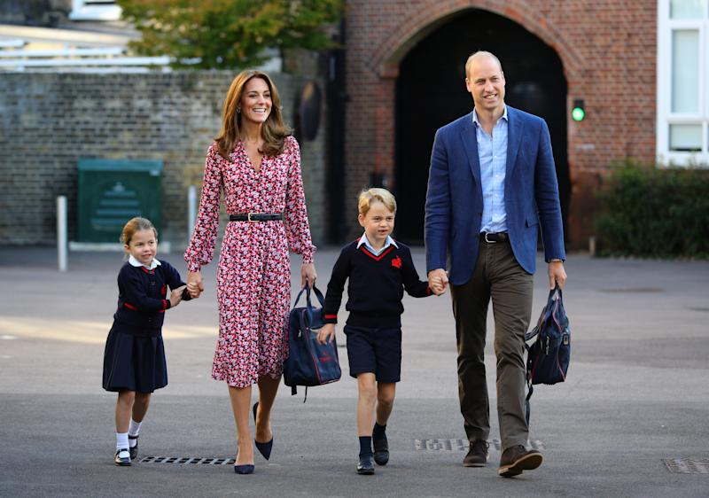 LONDON, UNITED KINGDOM - SEPTEMBER 5: Princess Charlotte, with by her father, the Duke of Cambridge, and mother, the Duchess of Cambridge and Prince George, arriving for her first day of school at Thomas's Battersea in London on September 5, 2019 in London, England. (Photo by Aaron Chown - WPA Pool/Getty Images)