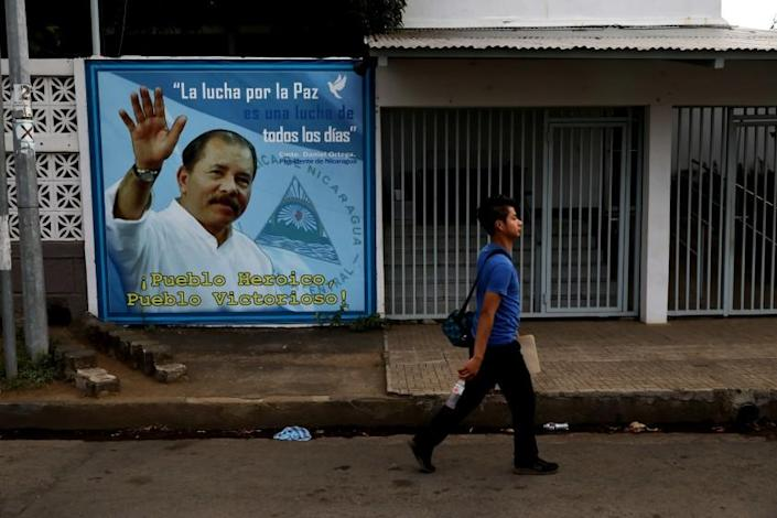 MANAGUA, NICARAGUA -- MONDAY, FEBRUARY 10, 2020: Daniel Ortega, President of Nicaragua since 2007, mural at the Minister of Agriculture building in Nicaragua on Feb. 10, 2020. For 75-months President Daniel Ortega's autocratic regime had been holding up in General Directorate of Customs (DGA) roughly half a million dollars of La Prensa's, in publication for 93-years, two most essential ingredients: paper and ink. (Gary Coronado / Los Angeles Times)
