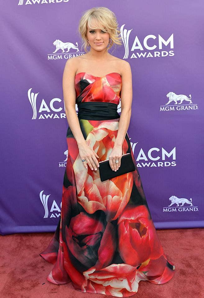 LAS VEGAS, NV - APRIL 07:  Singer Carrie Underwood attends the 48th Annual Academy of Country Music Awards at the MGM Grand Garden Arena on April 7, 2013 in Las Vegas, Nevada.  (Photo by Rick Diamond/ACMA2013/Getty Images for ACM)