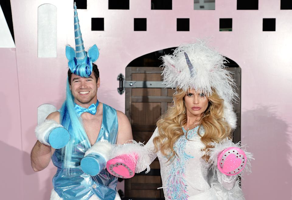 LONDON, ENGLAND - APRIL 27:  (L-R) Kieran Hayler and Katie Price pose at the press launch of Katie Price's new reality show 'Pony Club' at The Worx on April 27, 2016 in London, England.  (Photo by Jeff Spicer/Getty Images)