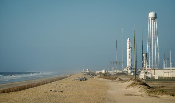 The Orbital Sciences Corporation Antares rocket is seen on the Mid-Atlantic Regional Spaceport (MARS) Pad-0A at the NASA Wallops Flight Facility on April 16, 2013 on Wallops Island, Va.The rocket is slated to launch on April 20.