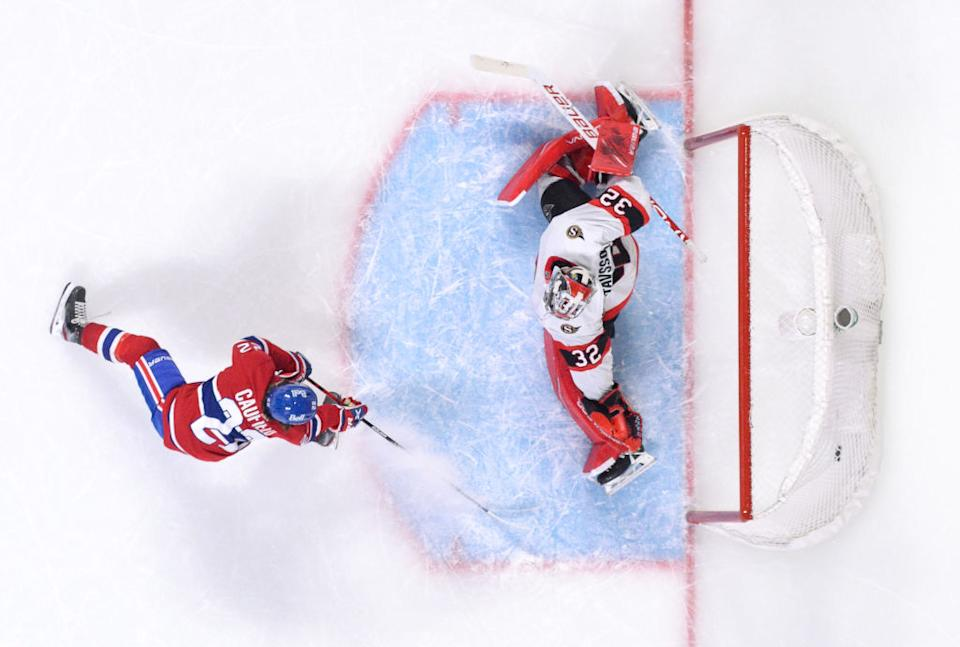 Canadiens rookie Cole Caufield tallied his first NHL goal in thrilling fashion versus the Senators on Saturday night. (Getty Images)