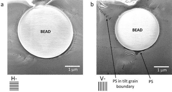 The impact of microscopic 'bullets' on nanocomposite material layers that were aligned either perpendicular (left image) or parallel (right image) to the projectile path.