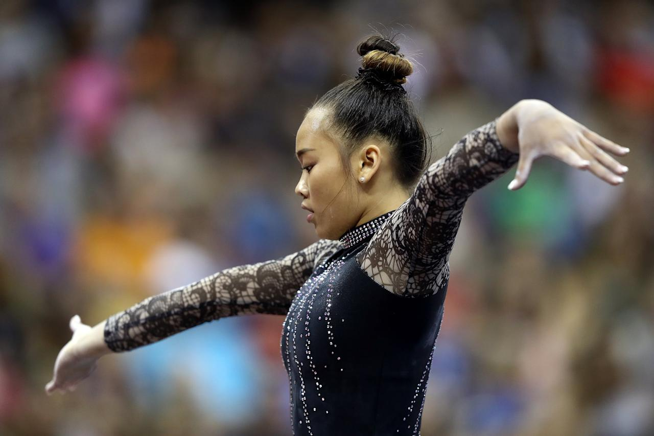 "<p>Sunisa, 16, is a St. Paul, MN, native who committed to competing for Auburn University come college. She finished <a href=""https://www.popsugar.com/fitness/Simone-Biles-US-Gymnastics-Championships-All-Around-Title-46485975"" class=""ga-track"" data-ga-category=""Related"" data-ga-label=""http://www.popsugar.com/fitness/Simone-Biles-US-Gymnastics-Championships-All-Around-Title-46485975"" data-ga-action=""In-Line Links"">second at the 2019 US Gymnastic Championships</a>. At that competition, she also won gold on bars and bronze on floor. And as a junior last year, she was the Pacific Rim Championships silver medalist on vault, beam, and floor. <a href=""https://www.popsugar.com/fitness/who-is-sunisa-lee-46707131"" class=""ga-track"" data-ga-category=""Related"" data-ga-label=""http://www.popsugar.com/fitness/who-is-sunisa-lee-46707131"" data-ga-action=""In-Line Links"">Read more about her here</a>.</p> <p><strong>Sunisa's USA Gymnastics highlight page:</strong> <a href=""http://usagym.org/pages/athletes/athleteListDetail.html?id=467541"" target=""_blank"" class=""ga-track"" data-ga-category=""Related"" data-ga-label=""http://usagym.org/pages/athletes/athleteListDetail.html?id=467541"" data-ga-action=""In-Line Links"">view more of her accomplishments</a></p> <p><strong>Sunisa's Instagram: </strong><a href=""http://www.instagram.com/sunisalee_/?hl=en"" target=""_blank"" class=""ga-track"" data-ga-category=""Related"" data-ga-label=""http://www.instagram.com/sunisalee_/?hl=en"" data-ga-action=""In-Line Links"">@sunisalee_</a></p>"