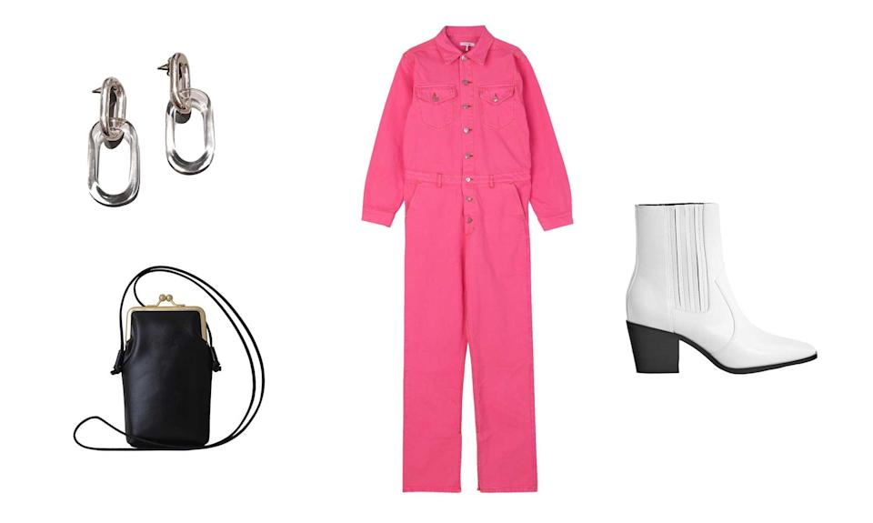 """<p>Come fall, you can never go wrong with a jumpsuit. This effortless piece is a no-brainer, no matter in which color. This hot-pink option is ideal to keep for those fall days when you're feeling lazy about dressing up fun and interesting.<br>Ganni, Denim Jumpsuit, $475,<a rel=""""nofollow noopener"""" href=""""https://www.ganni.com/us/product?g=g&dwvar_F2874_color=Hot%2520Pink&pid=F2874"""" target=""""_blank"""" data-ylk=""""slk:ganni.com"""" class=""""link rapid-noclick-resp""""> ganni.com</a><br>Bershka, Stretch Cowboy Ankle Boots, $69.90, <a rel=""""nofollow noopener"""" href=""""https://www.bershka.com/us/women/shoes/boots-%26-ankle-boots/stretch-cowboy-ankle-boots-c1010193193p101530004.html?colorId=001"""" target=""""_blank"""" data-ylk=""""slk:bershka.com"""" class=""""link rapid-noclick-resp"""">bershka.com</a><br>Most Wanted USA Vintage Sunny Pouch, $35, <a rel=""""nofollow noopener"""" href=""""https://fave.co/2NUMzSQ"""" target=""""_blank"""" data-ylk=""""slk:nordstromrack.com"""" class=""""link rapid-noclick-resp"""">nordstromrack.com</a><br>Jane D'Arensbourg, Sterling Oval and Glass Earrings $340, <a rel=""""nofollow noopener"""" href=""""https://fave.co/2PJ5g9x"""" target=""""_blank"""" data-ylk=""""slk:assemblynewyork.com"""" class=""""link rapid-noclick-resp"""">assemblynewyork.com</a> </p>"""