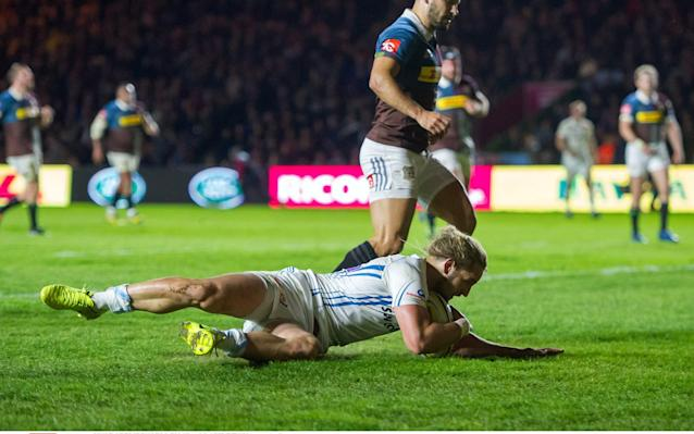 <span>Michele Campagnaro of Exeter Chiefs runs in a try</span> <span>Credit: Rex Features </span>