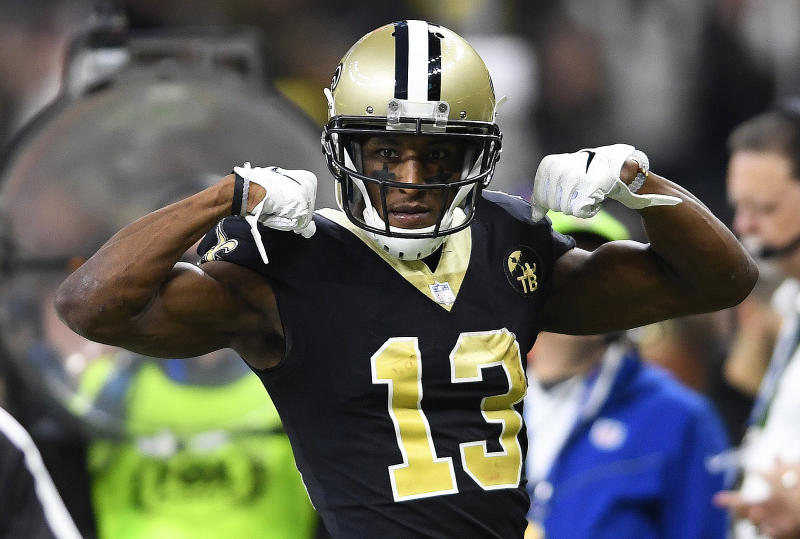 New Orleans Saints wide receiver Michael Thomas (13) did not report to camp with his teammates. (AP)