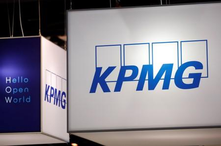 Logo of KPMG is seen at VivaTech fair in Paris