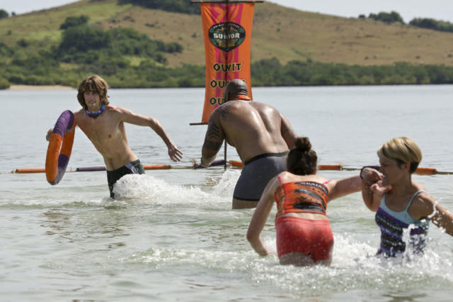 """Premiere - Erik Reichenbach, Shamar Thomas, Julia Landauer and Dawn Meehan compete during the premiere episode of ""Survivor: Caramoan - Fans vs. Favorites."" The Emmy Award-winning series returns for its 26th season with a special 90-minute premiere on CBS."