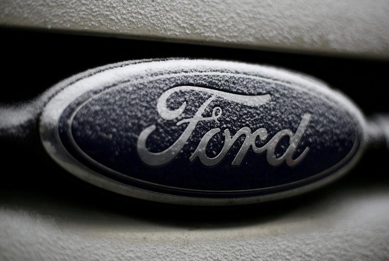 FILE PHOTO: Snowflakes are seen on the badge of a Ford car in Warsaw