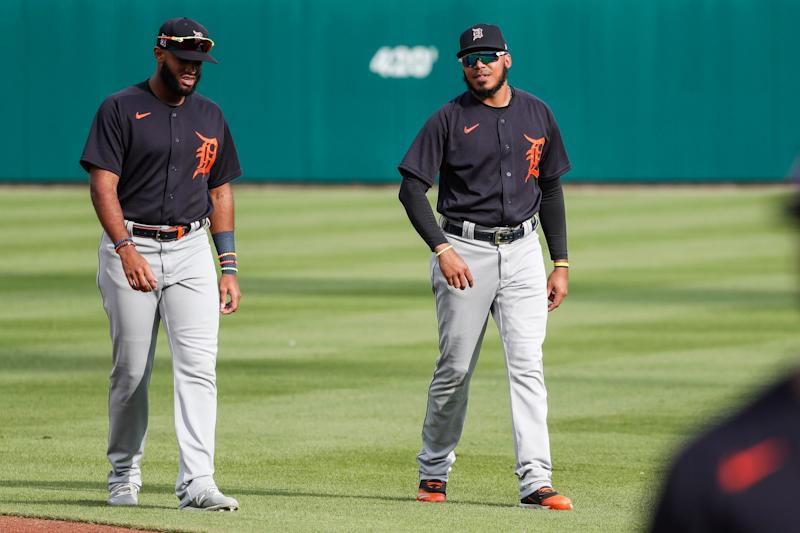 Detroit Tigers' Willi Castro, left, talks to Harold Castro before an intrasquad game at Comerica Park in Detroit, Wednesday, July 15, 2020.