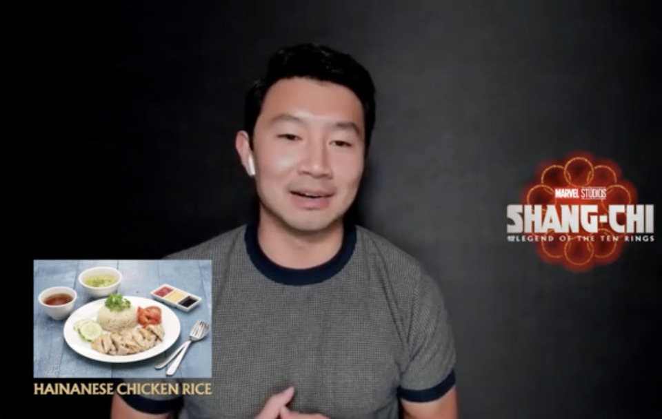 Simu Liu and Ronny Chieng, stars of Shang-chi And The Legend Of The Ten Rings, on what Singaporean dishes they would eat. One of the dishes Simu picked was Hainanese chicken rice.