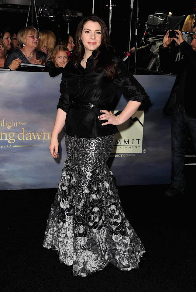 "Stephenie Meyer arrives at ""The Twilight Saga: Breaking Dawn - Part 2"" Los Angeles premiere at Nokia Theatre L.A. Live on November 12, 2012 in Los Angeles, California.  (Photo by Steve Granitz/WireImage)"