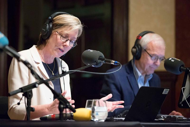 BBC Radio 4 Today presenters Sarah Montague and John Humphrys broadcast today's Today programme at Wigmore Hall in central London as the BBC Radio 4 Today programme celebrates its 60th anniversary.